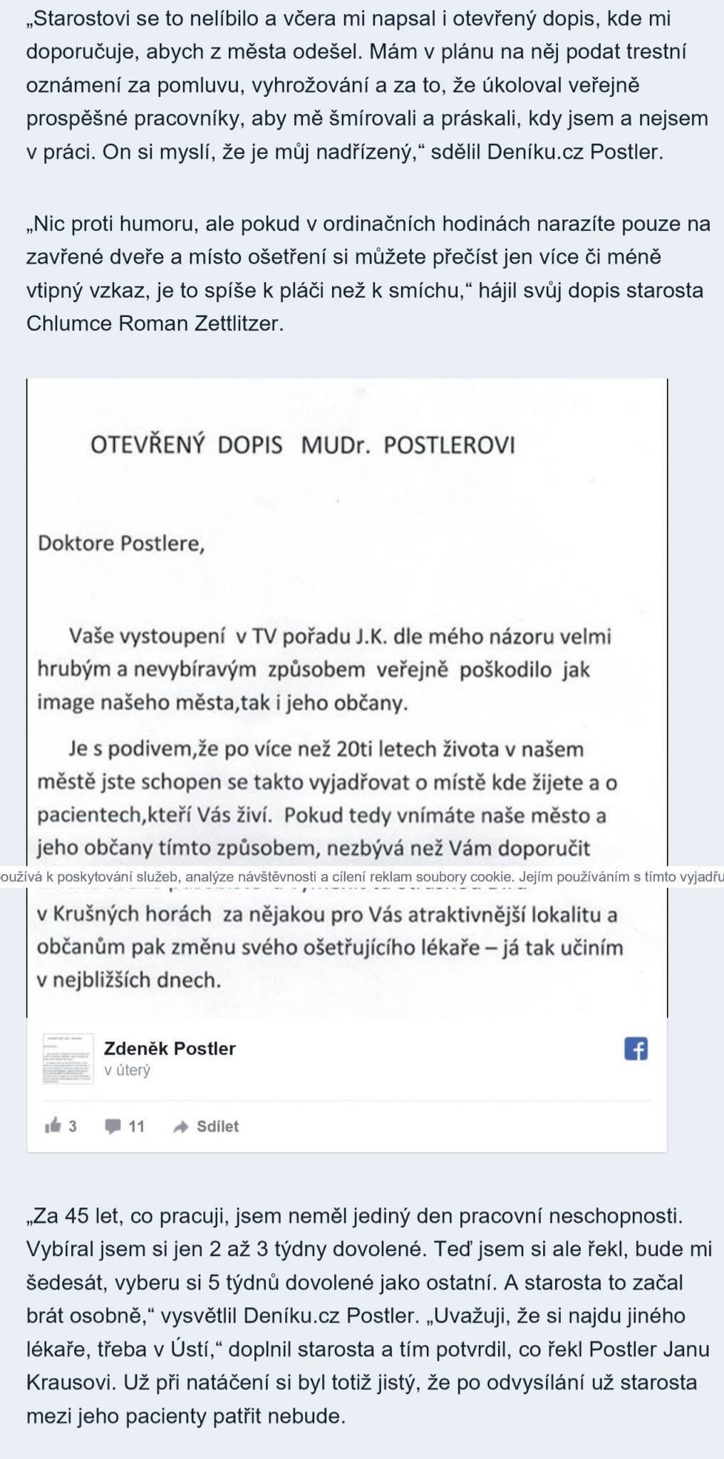 Otevřený dopis o starosty – MUDr. Postler pobouřil starostu a občany města Chlumec – v SJK si totiž pustil pusu na špacír...