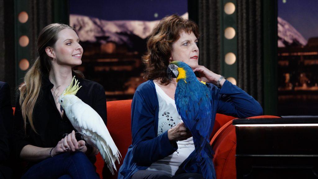 Ošetřovatelky a cvičitelky papoušků Aneta Vychytilová a Magdalena Žohová s papoušky (zleva kakadu žlutočečelatý Kuba a ara ararauna Bucky) — SJK 14. 10. 2020