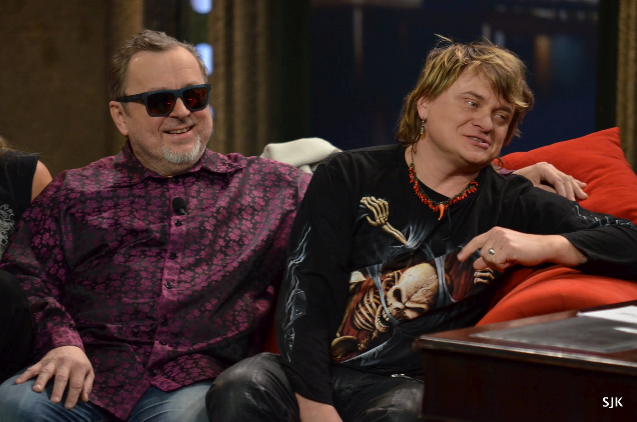 Zleva: Michal Pavlíček a Vilém Čok z kapely Pražský výběr v SJK 15. 3. 2013