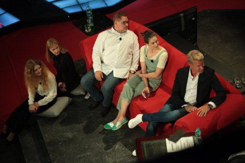 Herec Václav Kopta s dcerami Janou a Františkou, herečka Marta Dancingerová a český Ken Robert Paulat v SJK 16. 6. 2021